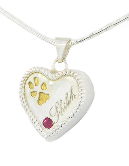 Custom Paw Heart Keepsake with Rope Detail & Ruby