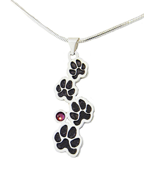 Custom Paw Journey Pendant with Crystal