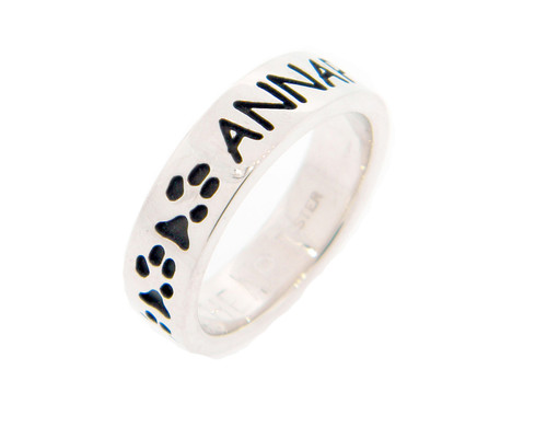 Companion Ring with Recessed Lettering and Custom Paw