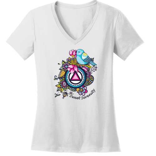 New! Sweet Serenity White V-Neck Tee