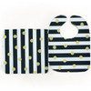 Bib & Burp Set - Lux Stripes w/Gold Polka Dots