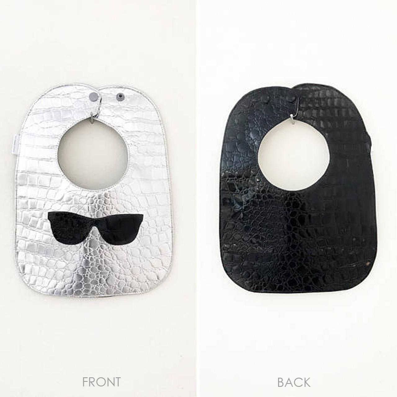 5bb98767085 Embossed Vinyl Bib - Wayfarer Sunglasses - Boca Baby Company