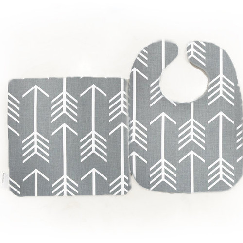 Bib & Burp Set - Archer - Gray