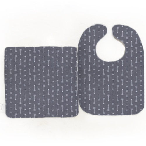 Bib & Burp Set - Mini Archer - Gray