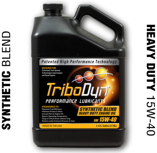 TriboDyn (Patented) 15W-40 Synthetic Blend Heavy Duty Engine Oil - 1 Gallon (3.78 Liter)