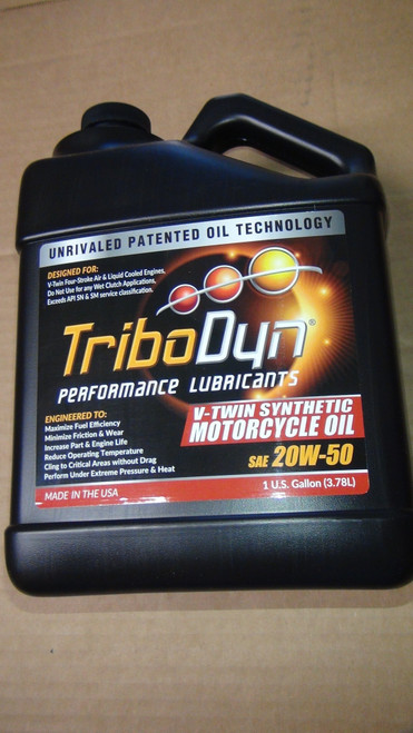TriboDyn (Patented) 20W-50 V-Twin Synthetic Motorcycle Engine Oil - 1 Gallon