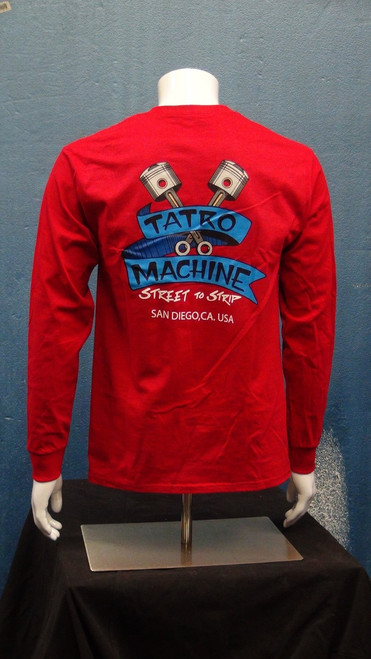HNLSP Hanes Long Sleeve Pocket T-Shirt 6oz 100% Cotton with Back Tatro Machine Logo