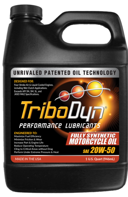 TriboDyn (Patented) 20W-50 Fully Synthetic (wet clutch) Motorcycle Oil - 1 Quart (946mL)