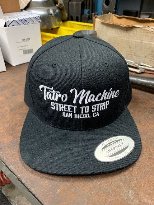 CAPSB Cap Snapback Black adjustable Hat sizing Tatro Machine Script Logo