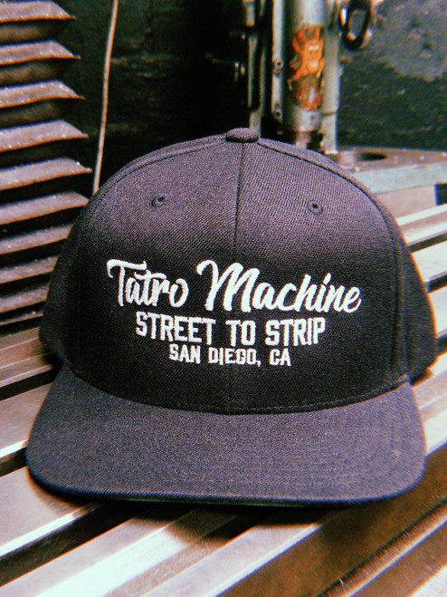 CAPSB Cap Snapback Black adjustable Hat sizing Tatro Machine Script Logo