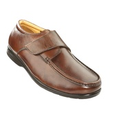 Extra-Wide Men's Leather Adjustable Touch-Close Shoes