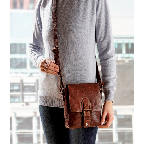 Ladies Leather Cross-Body Saddle Bag