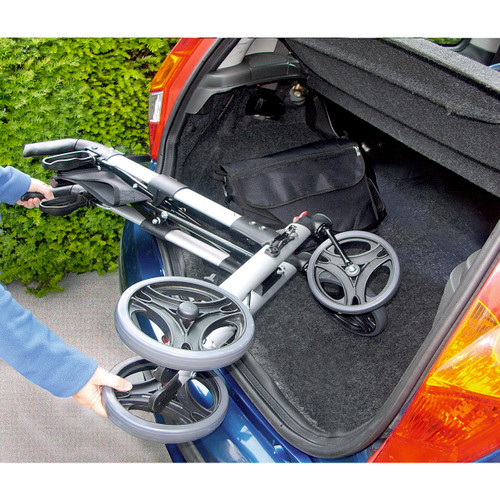 Folding 4-Wheel Rollator Walker, 2 in 1