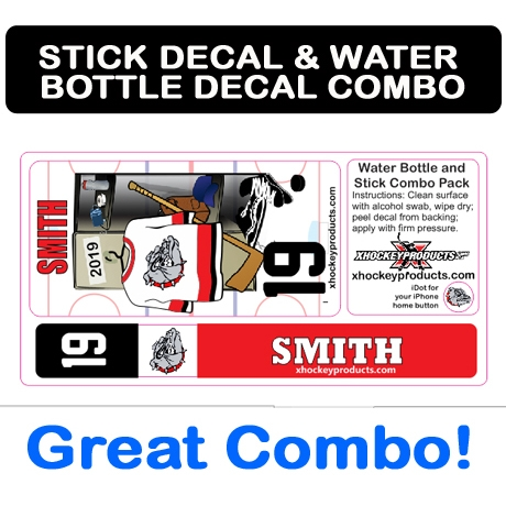 Stick Label & Water Bottle Decal Combo at xHockeyProducts.ca Canada