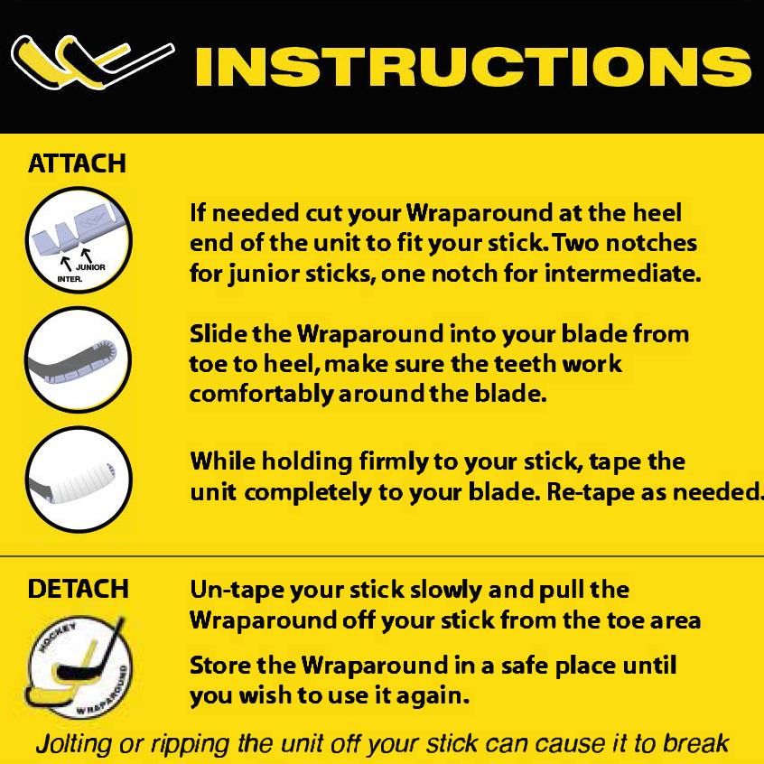 Hockey WrapAround Off-Ice Stick Protector installation instructions xHockeyProducts.ca Canada
