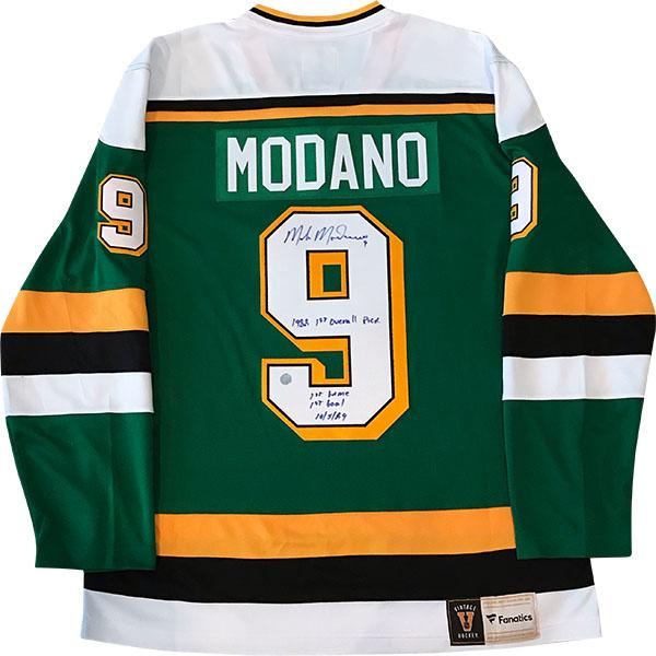 Mike Modano Autographed Minnesota North Stars Replica Jersey (multi-inscribed)