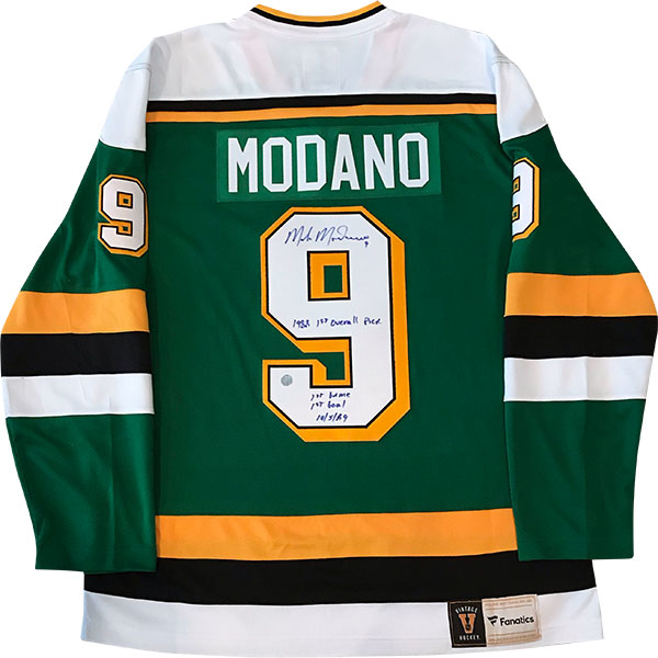 Mike Modano Autographed Minnesota North Stars Replica Jersey (multi-inscribed) xHockeyProducts.ca Canada