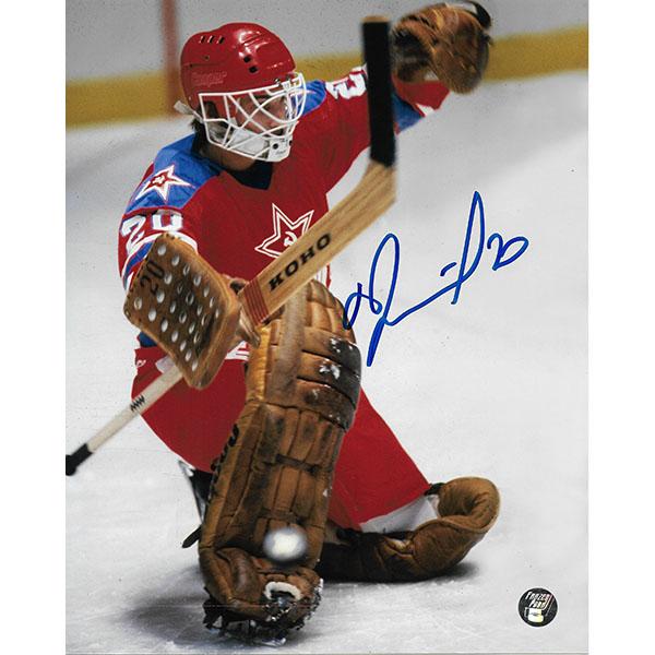 Vladislav Tretiak Autographed CCCP 8X10 Photo (Kick Save)