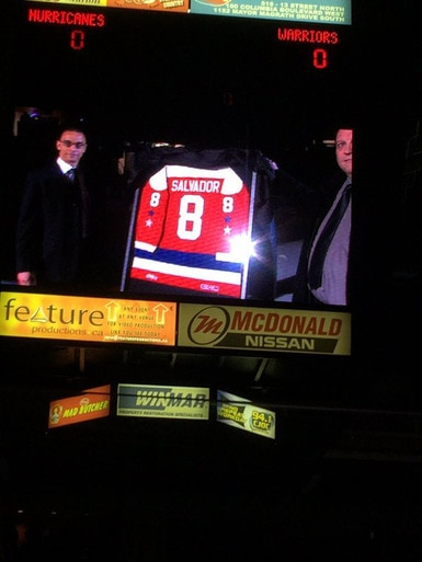 Bryce Salvador Jersey Night with Lethbridge Hurricanes of the CHL