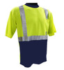 Hi-Vis Class 2 Reflective Safety Shirt - Safety Lime Green / Navy Bottom and Collar ## NVG820 ##