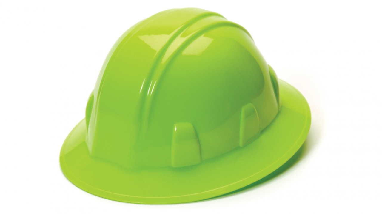 Pyramex® Full Brim Hard Hats - Lime