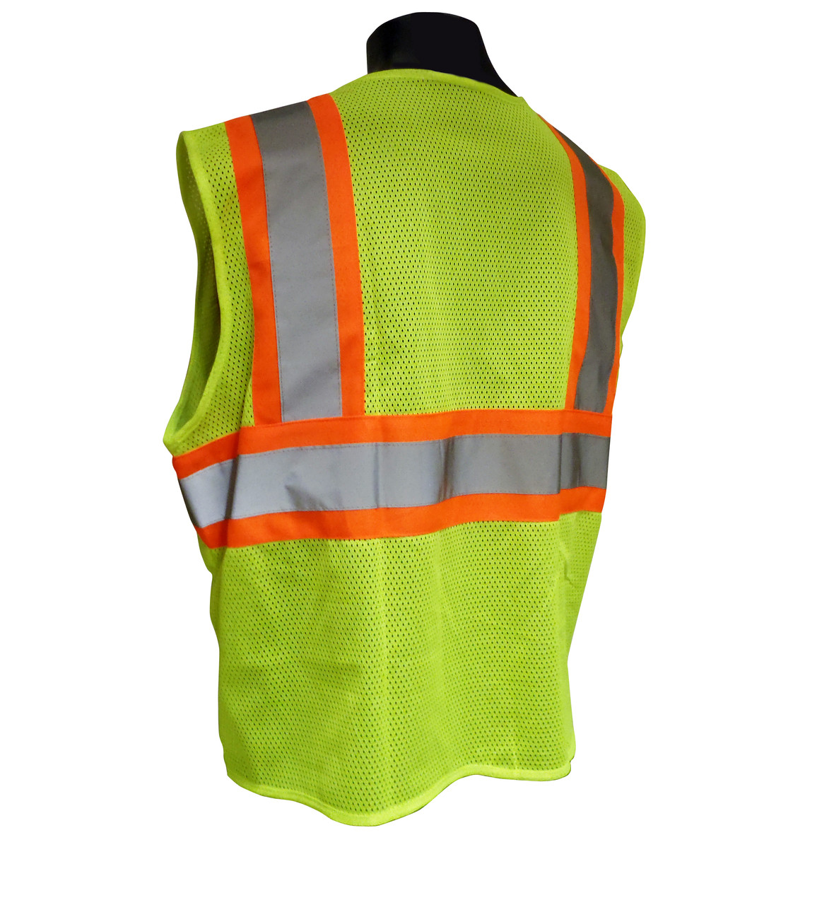 Radians SV22-2ZGM Polyester Mesh Economy Class 2 High Visibility Zipper Closure Vest with Two-Tone Trim - BACK