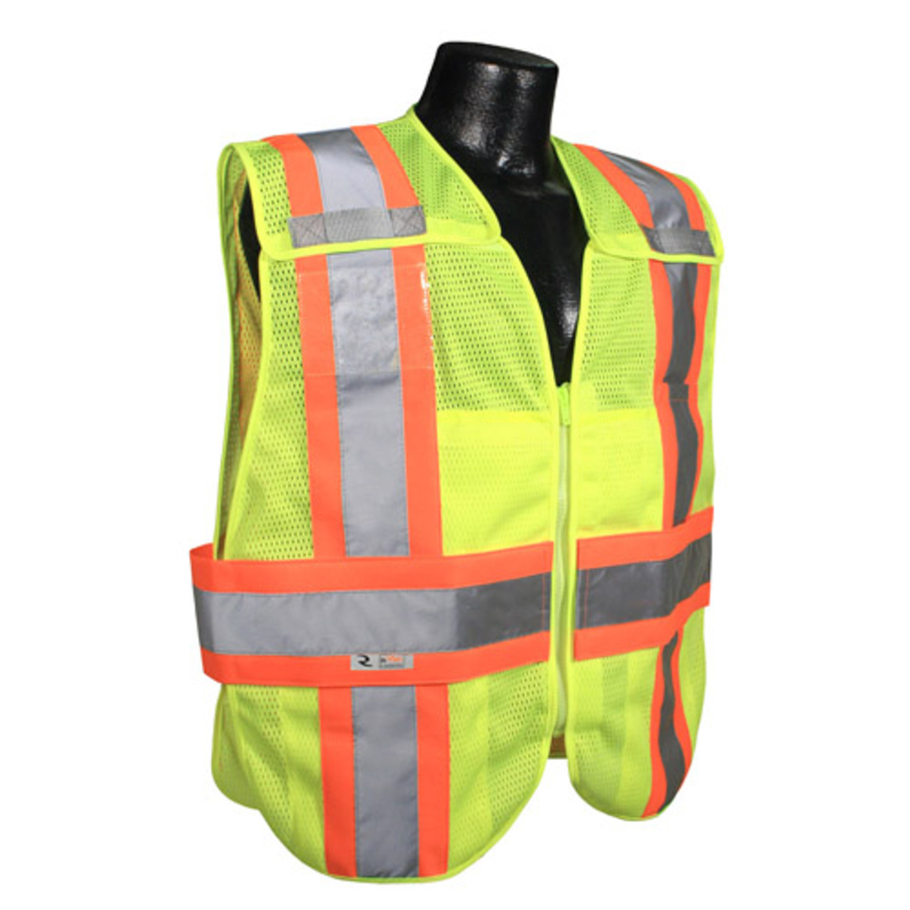 Hi-Vis Two-tone Class 2, Five-Point Breakaway Safety Vests Lime Green - Vest 21 ##VEST 21 ##
