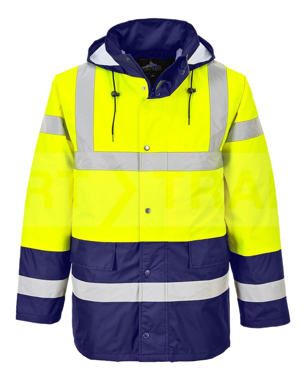 Hi-Vis Traffic Jacket - Hi-Vis Yellow/Navy Blue Bottom ## US466YNB ##