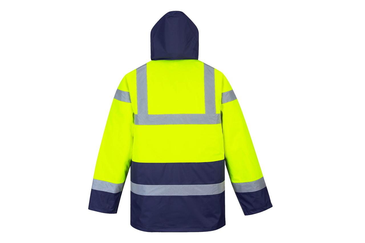 Hi-Vis Traffic Jacket - Hi-Vis Yellow/Navy Blue Bottom Back