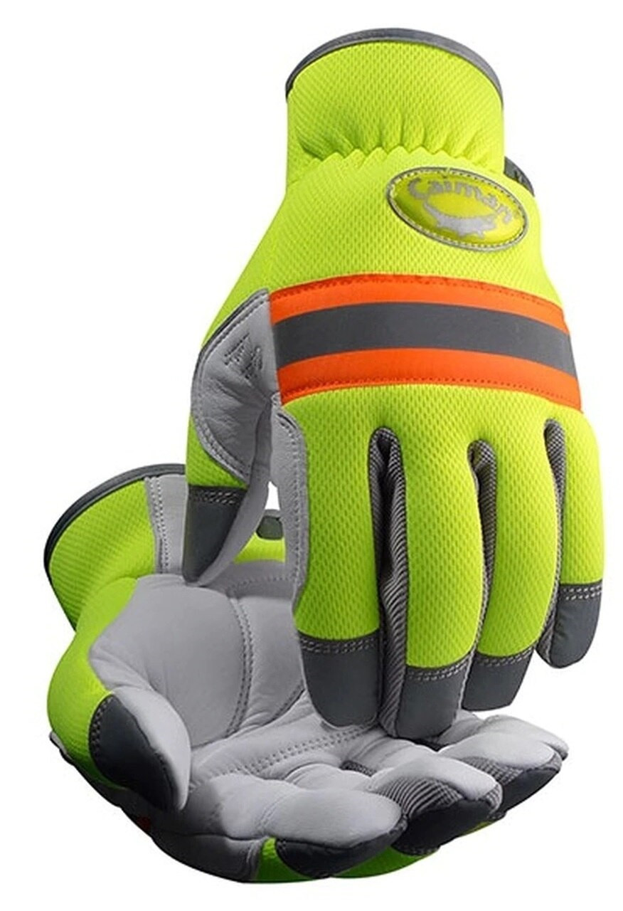 Caiman® 2908 White Sheep Grain, Hi-Vis Reflective Mechanics Gloves With Padded Palm