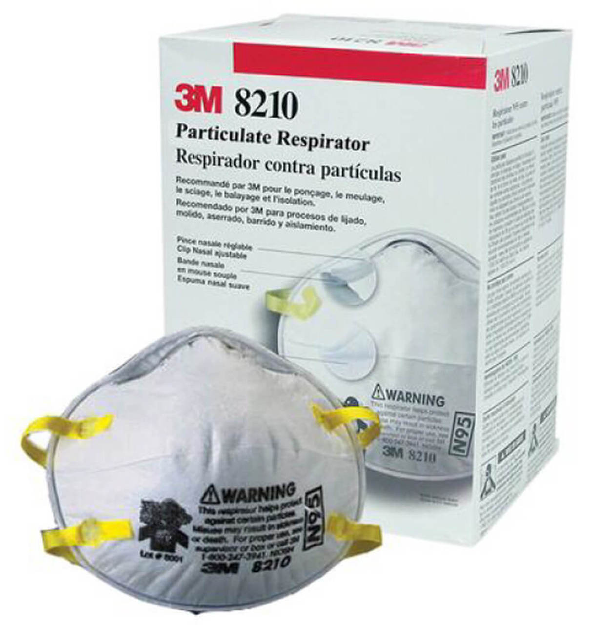 3M8210 N95 Particulate Respirators  - Box of 20