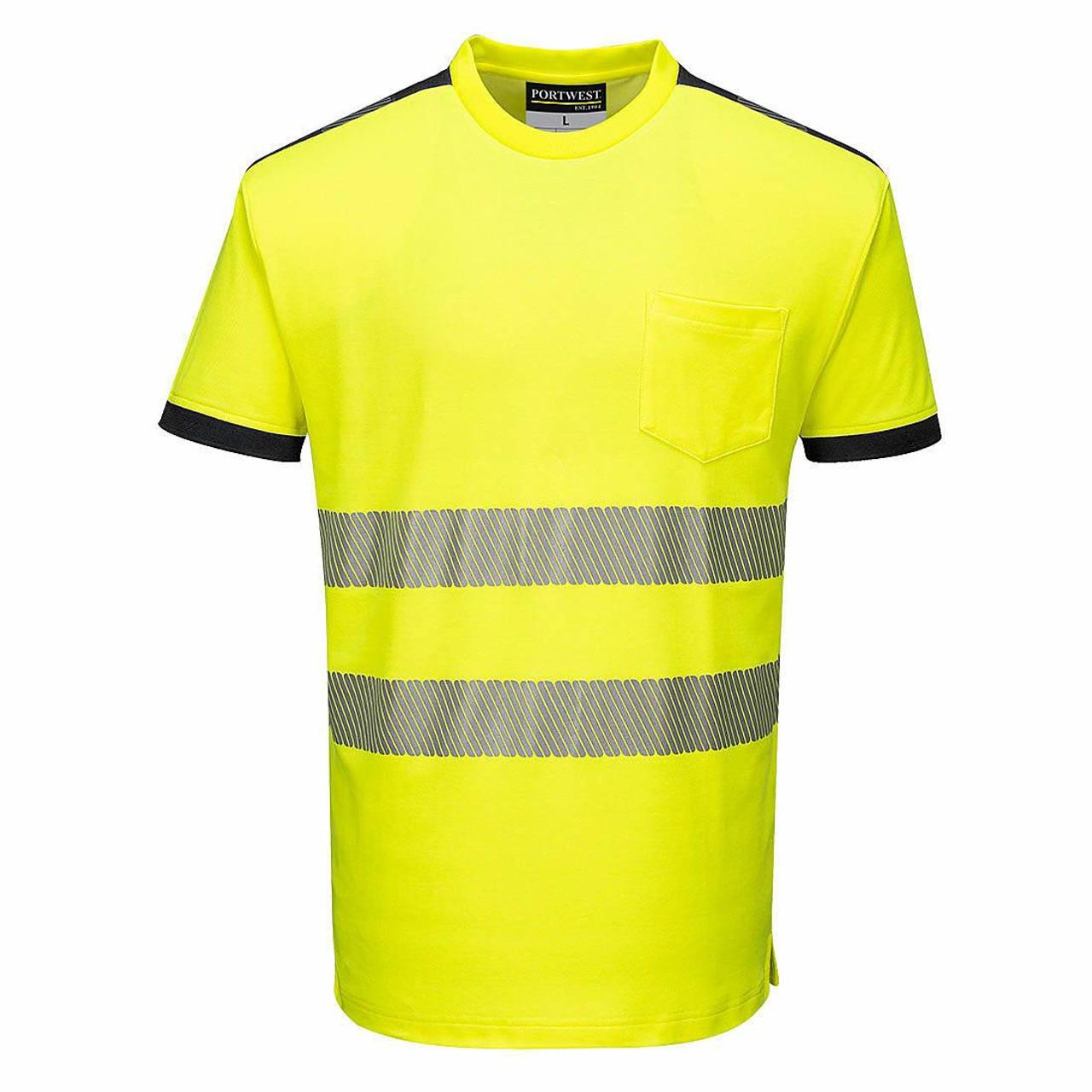 Portwest T181 PW3 Hi-Vis Short Sleeve Work T-Shirt - Hi-Vis/Navy - FRONT