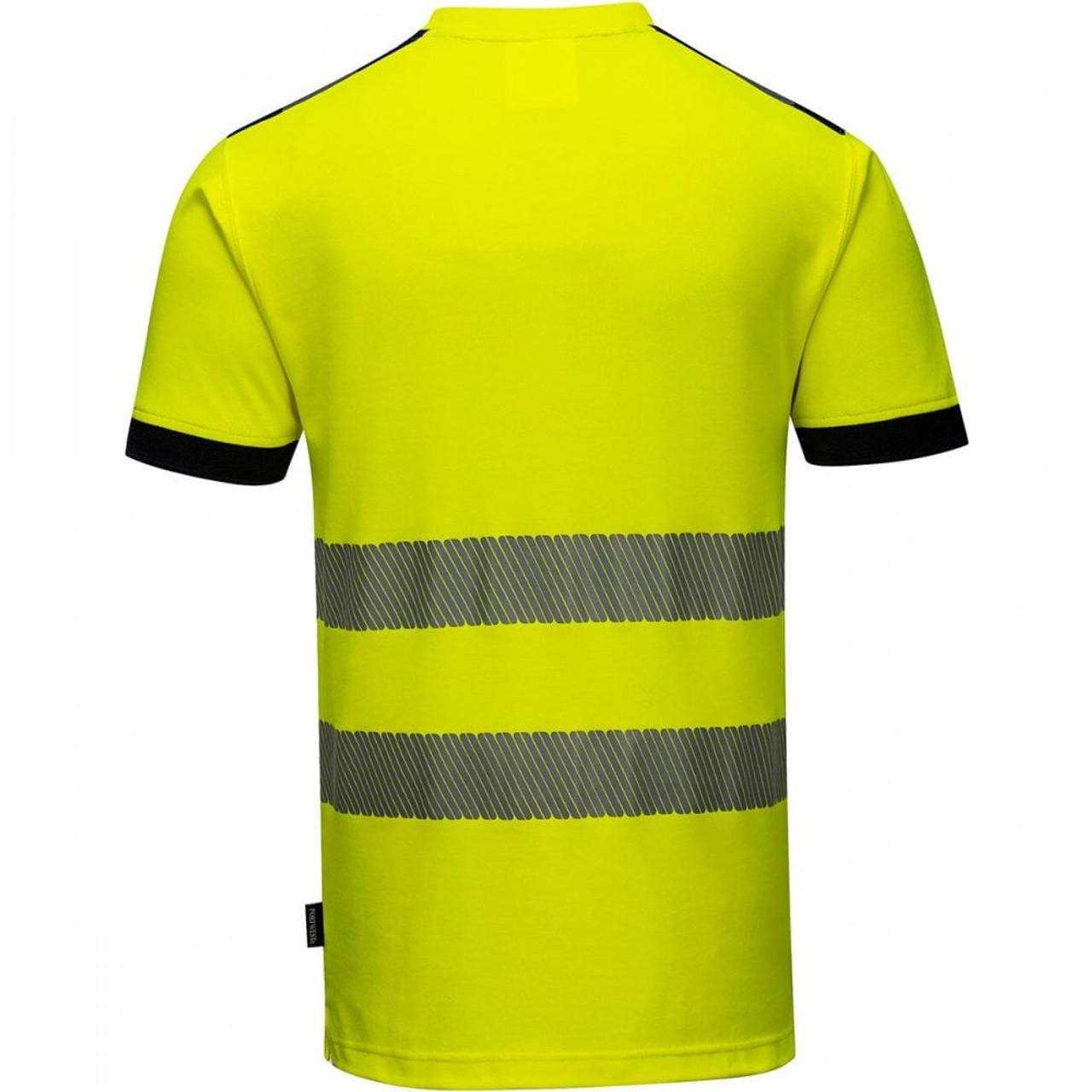 Portwest T181 PW3 Hi-Vis Short Sleeve Work T-Shirt - Hi-Vis/Navy - BACK