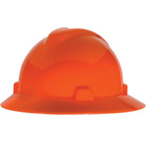 V-Gard® Full Brim Hard Hats - Hi-Vis Orange  ##MSA475369 ##