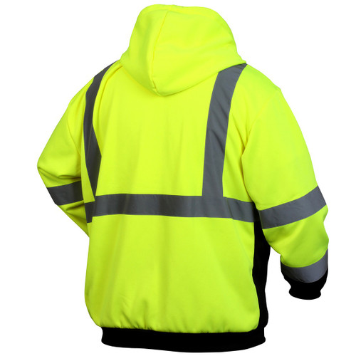 Pyramex RSZH3210 Type R Class 3 Black Bottom Full-Zip Safety Sweatshirt - Yellow/Lime