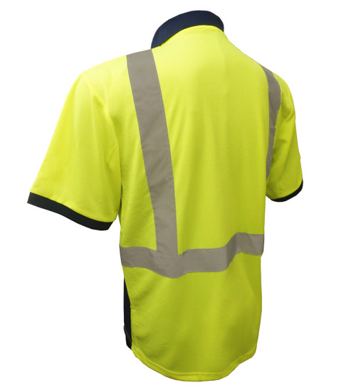 G&S Class 2 Short Sleeve Hi-Vis Polo with Navy Collar and Bottom