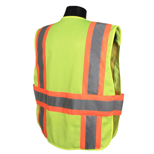 Hi-Vis Two-tone Class 2, Five-Point Breakaway Safety Vests Lime Green