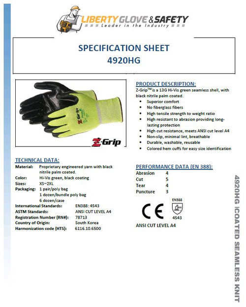 Liberty Z-GRIP® ANSI A4 HI-VIS GREEN SEAMLESS SHELL (NITRILE COATED)