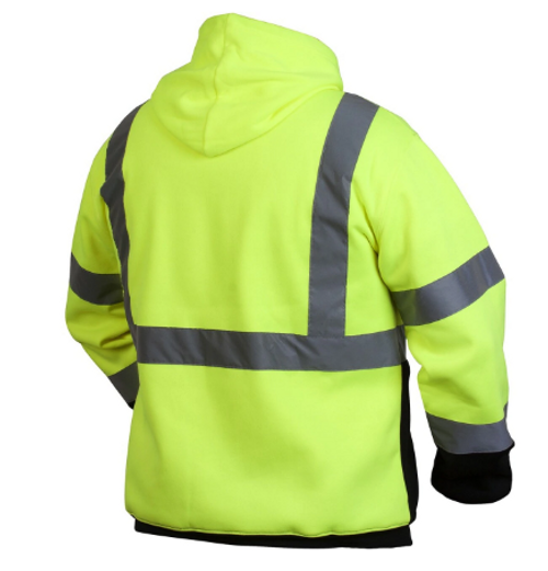 Pyramex RSSH3210 Type R Class 3 Black Bottom Pullover Safety Sweatshirt - Yellow/Lime