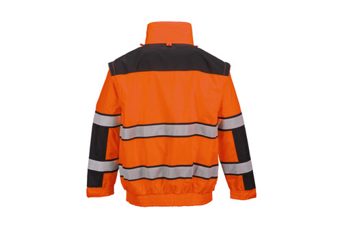 Hi-Vis Classic Bomber Jacket - Orange Back