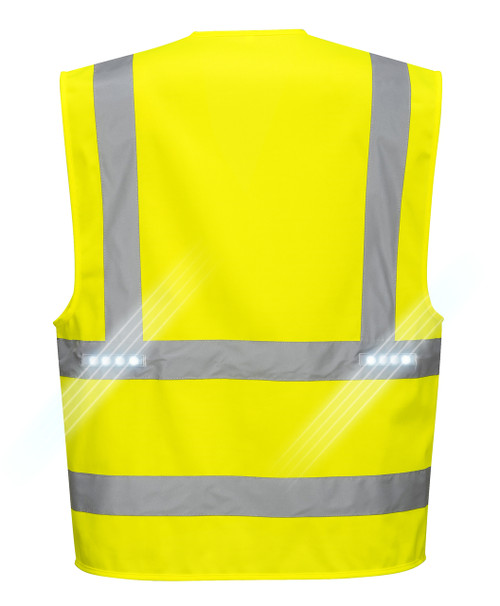 Portwest L470 Vega High Visibility Class 2 LED Vest - back
