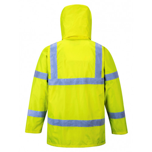 PortWest US160 Class 3 Hi Vis Yellow Waterproof Traffic Jacket - BACK