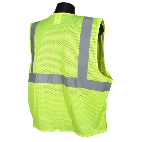 Radians SV2ZGM Economy Type R Class 2 Mesh Safety Vest with Zipper  -  BACK