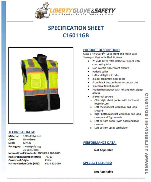 LIBERTY GLOVE C16011GB SOLID FRONT MESH BACK SURVEYORS VEST WITH BLACK BOTTOM