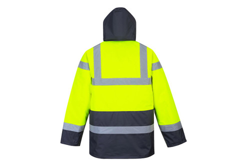 Portwest US466YBR *WATERPROOF* Hi-Vis Quilted Lined Parka - Hi-Vis Yellow/ Black Bottom