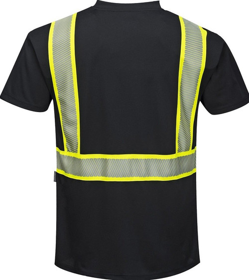 Portwest® S396 Non-ANSI Iona Plus Hi-Vis Black Short Sleeve T-Shirt