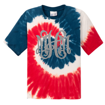 Monogrammed Tie-Dye Tee - Red White and Blue