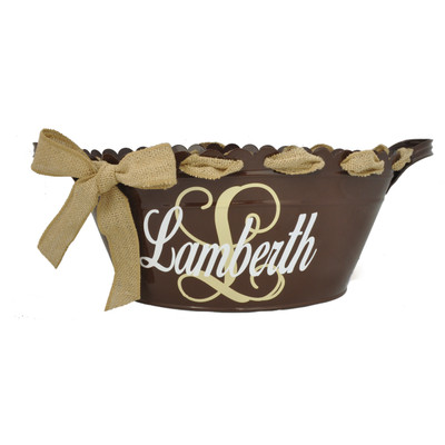 Scalloped Oval Tub - Brown