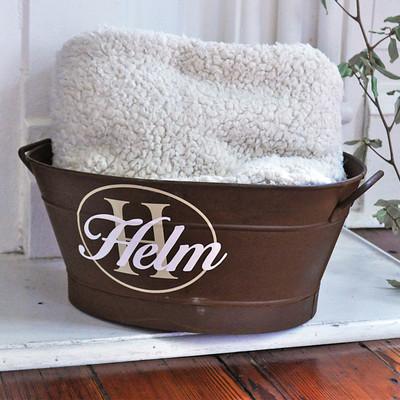 Personalized Rusty Oval Wash Tub