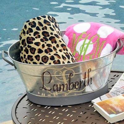 Personalized Galvanized Oval Wash Tub